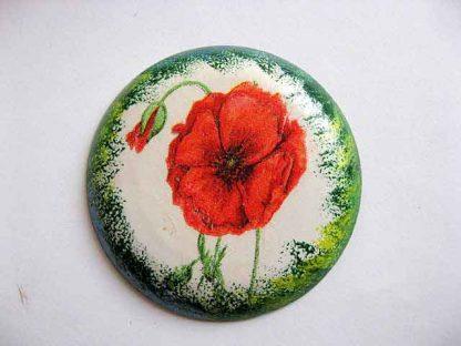 Magnet rotund frigider cu flori de maci rosii, magnet ipsos frigider 23640
