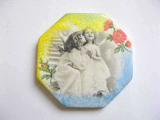 Octogon magnet frigider, magnet cu copii imagine alb negru si flori rosii 23510