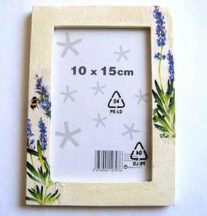 Rama cu flori mov, flori de lavanda si albina, rama lemn fotografie 27134