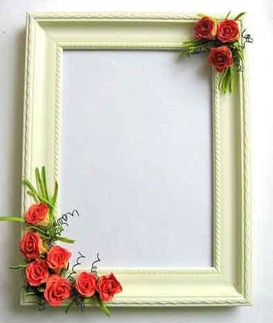 Rama cu trandafiri rosii de hartie, rama foto din lemn stil tablou 25413