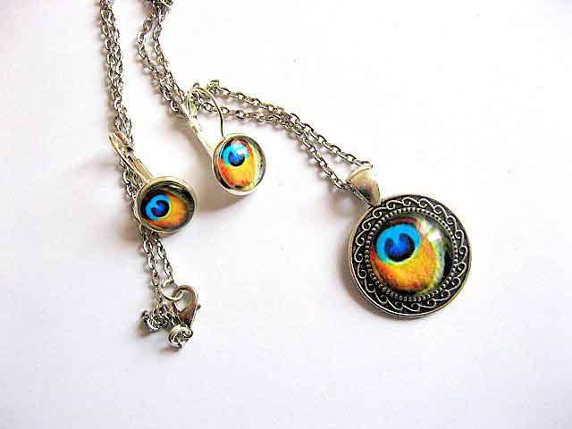 Set bijuterie pana de paun culori galben cu albastru, set bijuterie femei 29597