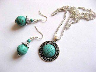 Set bijuterie peruzea, set bijuterie femei turcoaz 29495