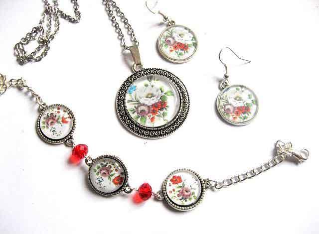 Set bijuterii cu model floral si cristale rosii, set bijuterii femei 29680