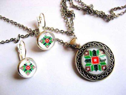 Set bijuterii cu motiv traditional, set bijuterii culori rosu, negru, maro si alb 29451