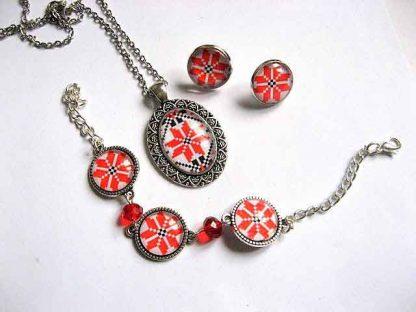 Set bijuterii femei model traditional, set colier, pandantiv, cercei si bratara 29676