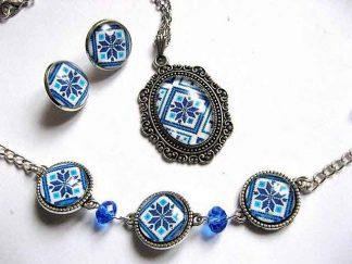 Set bijuterii motive traditionale culori albastru, set bijuterii femei 29678