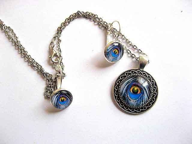 Set cu design pana paun culori albastru, galben, negru, set bijuterii femei 29602