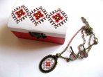 Set cutie, colier cu pandantiv si cercei cu motiv traditional, set bijuterii 29491