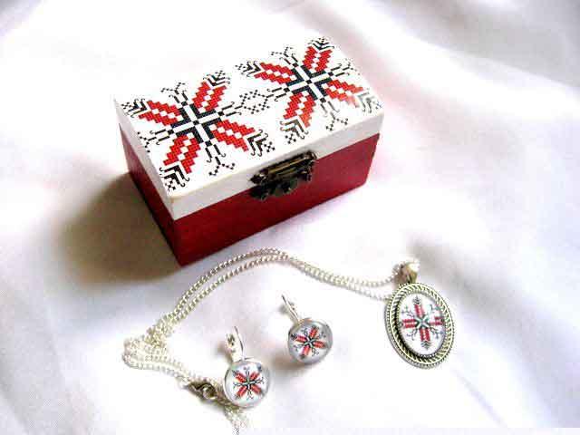 Set cutie si bijuterii femei cu motive dogrogene, set bijuterii cadou 29314