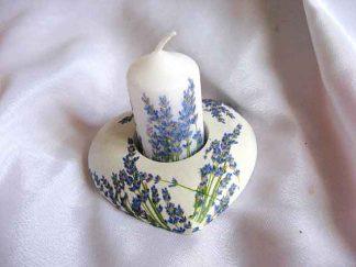 Suport de lumanare si lumanare cu flori de levantica, suport cu flori mov 23421