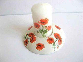 Suport ipsos design flori de maci rosii, suport de lumanare cu lumanare 21819