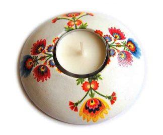Suport lumanare cu motiv traditional flori stilizate, suport lumanare 7567