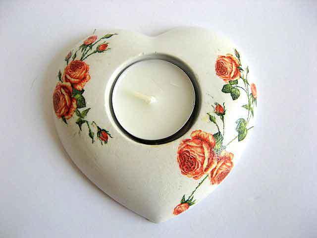 Suport lumanare sub forma de inima cu trandafiri roz, suport lumanare cu lumanare 28121