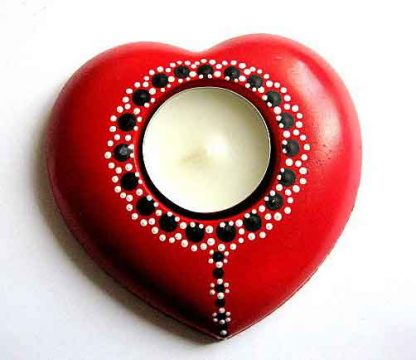 Suport lumanare sub forma de inima de culoare rosie, suport lumanare 29627