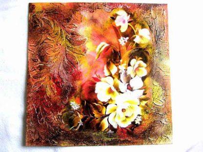 Tablou cu elemente florale culoare alba, tablou pe panza 29691