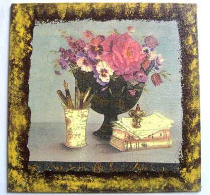Tablou design vaza flori, suport stilouri si pixuri, carti, tablou handmade pe panza 26047