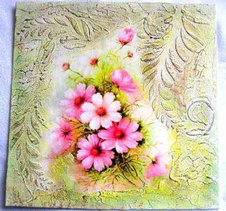 Tablou panza cu flori in culori pastelate, tablou handmade 29688