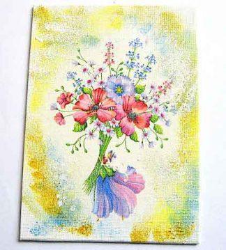 Tablou panza flori, tablou tehnica servetel, pictat cu acuarele acrilice 29630