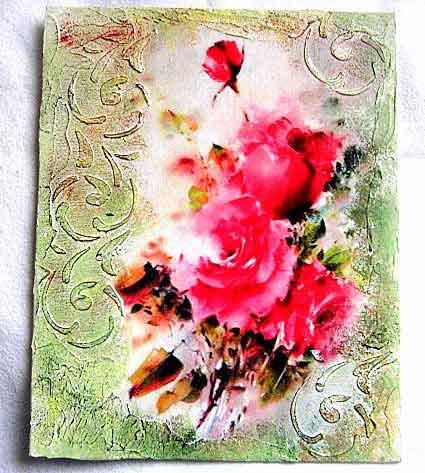 Tablou pe panza cu model abstract in culori pastelate, tablou panza 29689