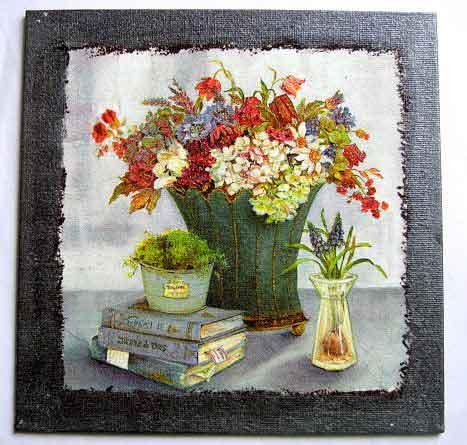 Tablou vaza mare flori campenesti, carti, muschi ghiveci, tablou pe panza 26042
