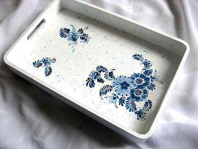 Tava model floral stilizat albastru si albastru deschis, tava servit masa 29636