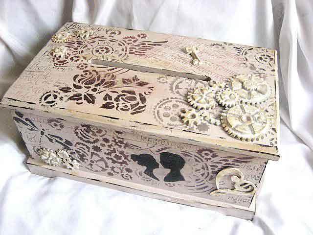 Dar de nunta, cutie stil cufar, cutie de lemn decorata 29350 poza a 2a