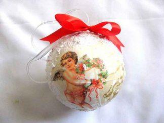 Decoratiune brad sarbatori iarna, glob brad cu funda rosie 29871