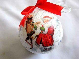 Decoratiune sarbatori iarna, glob cu Mos Craciun, lista cadouri si renul 29869