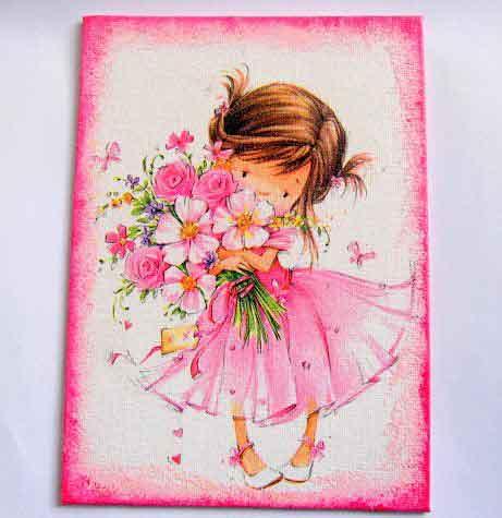 Fetita cu parul balai imbracata in roz cu buchet de flori in brate, tablou pe panza 29736