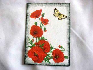Flori de maci rosii si fluture galben cu negru, tablou pe panza 29714