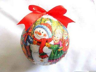 Glob om de zapada, copii si bufnita, decoratiune glob brad sarbatori iarna 29878
