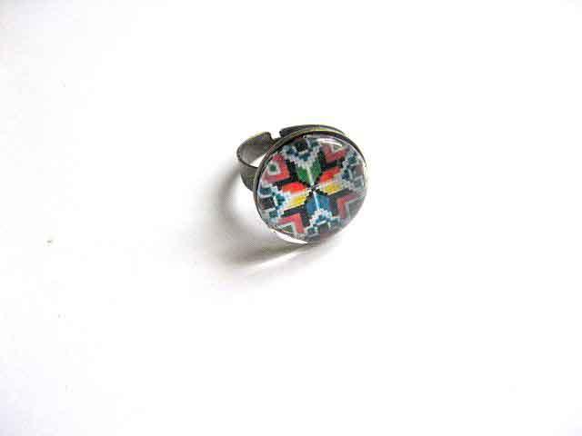 Inel cu motiv traditional culori vii, inel reglabil femei 29750