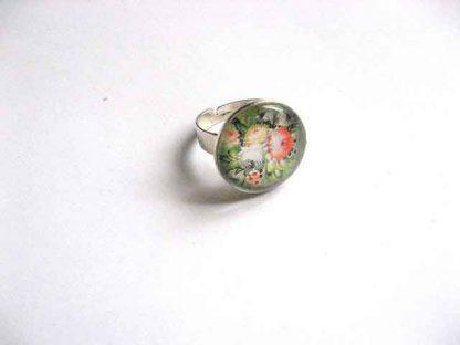 Inel din metal si sticla cu model floral, inel reglabil femei 29754
