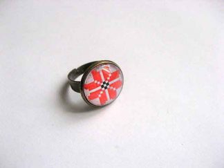 Inel femei cu motiv traditional lucrat manual, inel reglabil 29767