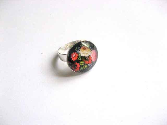Inel reglabil cu model floral pe fundal negru, inel femei 29749