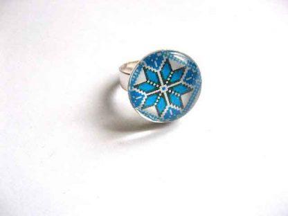 Inel reglabil femei cu motiv traditional, inel femei culoare bleu 29760