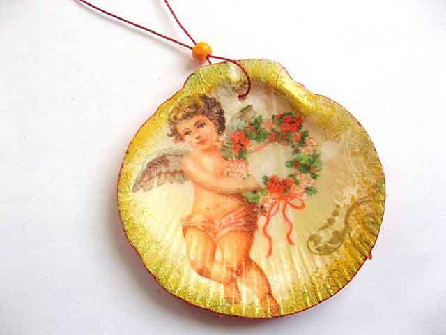 Ornament brad pentru sarbatori, ornament cu inger si flori 29859
