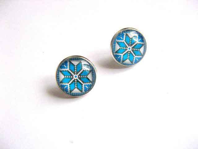 Pereche cercei motiv traditional culoarea albastru, cadou sarbatori 29778