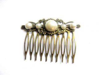 Pieptan par, bronz si perle artificiale, pieptan lucrat manual 29739