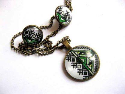 Set bijuterii femei, cercei, colier si pandantiv, set motive traditionale 29461