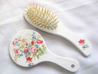 Set cadou femei cu model floral, set perie par si oglinda 29823