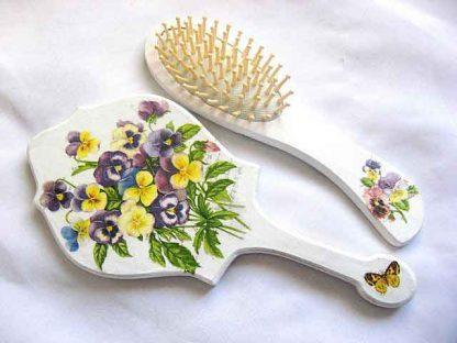 Set cu model floral si fluture, set perie si oglinda femei 29806