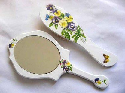 Set cu model floral si fluture, set perie si oglinda femei 29806 poza a 2a