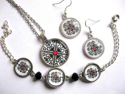 Set cu model traditional romanesc deosebit, set bijuterii femei 29885