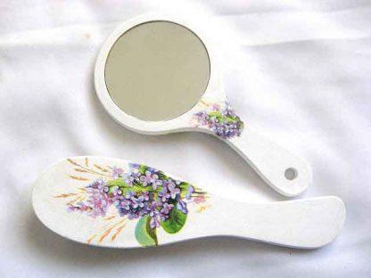 Set flori liliachii si spice de grau, se oglinda si perie par femei 29821 poza a 2a