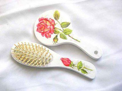 Set model trandafir rosu cadou femei, set perie par si oglinda 29818