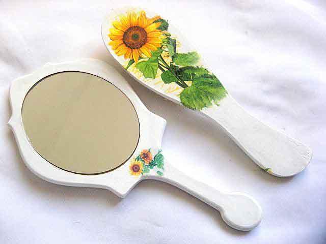 Set oglinda si perie par cu model de floarea soarelui, set femei 29806 poza a 2a