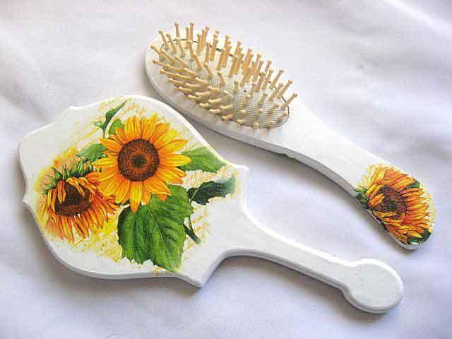 Set oglinda si perie par cu model de floarea soarelui, set femei 29806