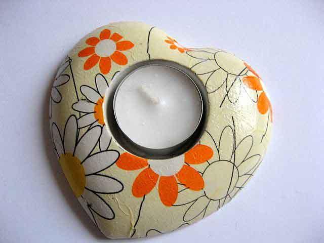 Suport lumanare inima flori monocrom, alb, galben si portocaliu, suport lumanare 19980