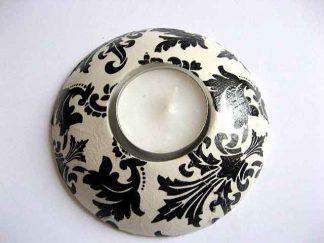 Suport lumanare ornamente negre pe fundal alb, suport lumanare cu lumanare 20978